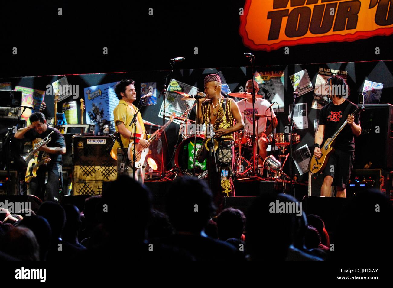 Angelo Moore Fishbone (c) NOFX perform Vans Warped Tour 15th Anniversary Celebration Club Nokia September 6,2009 Stock Photo