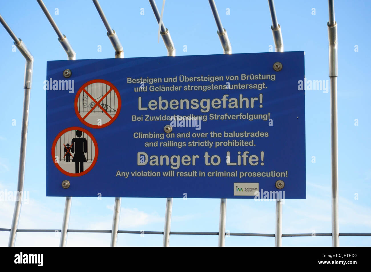 Warning sign inside the viewing platform, Olympic Tower, Olympiapark, Munich, Bavaria, Germany - Stock Image