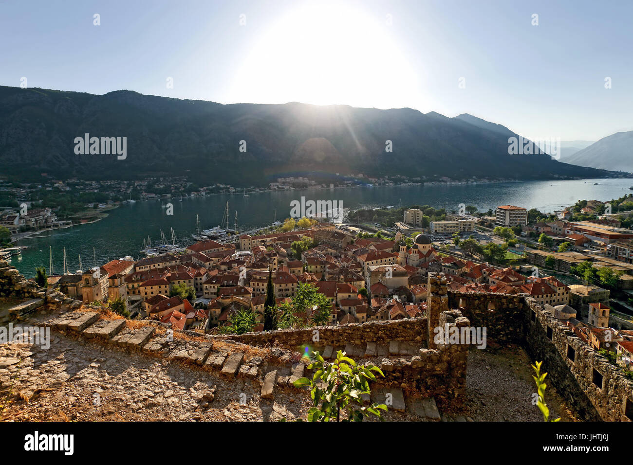 Top view on old town Kotor, Montenegro. Travel destination concept. Stock Photo