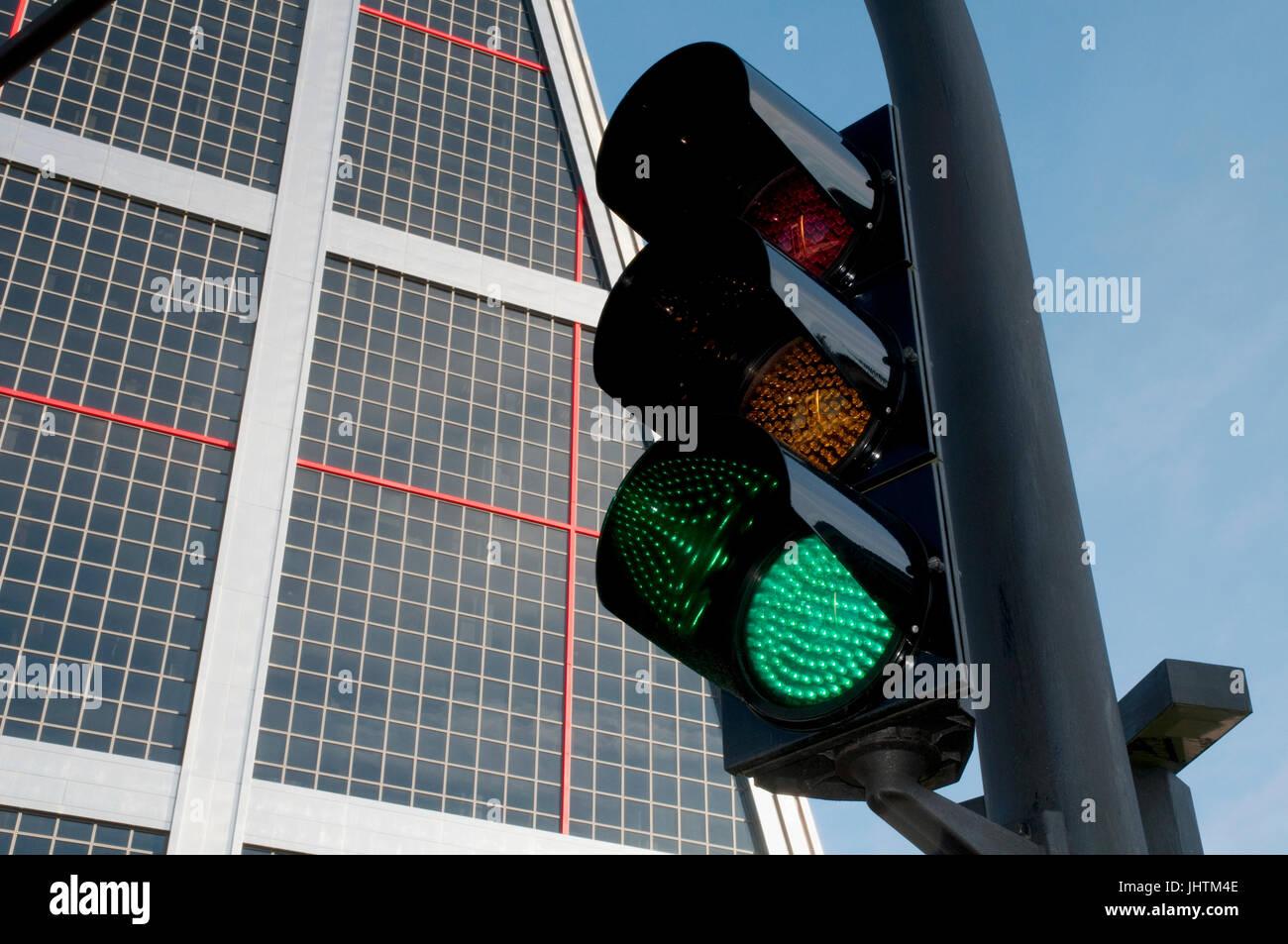 Detail of green traffic light. Plaza de Castilla. Madrid, Spain. Stock Photo