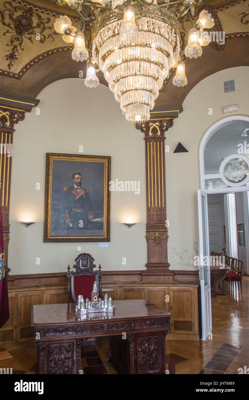 Inside of the council chamber in the town hall of Cartagena in Murcia Spain - Stock Image