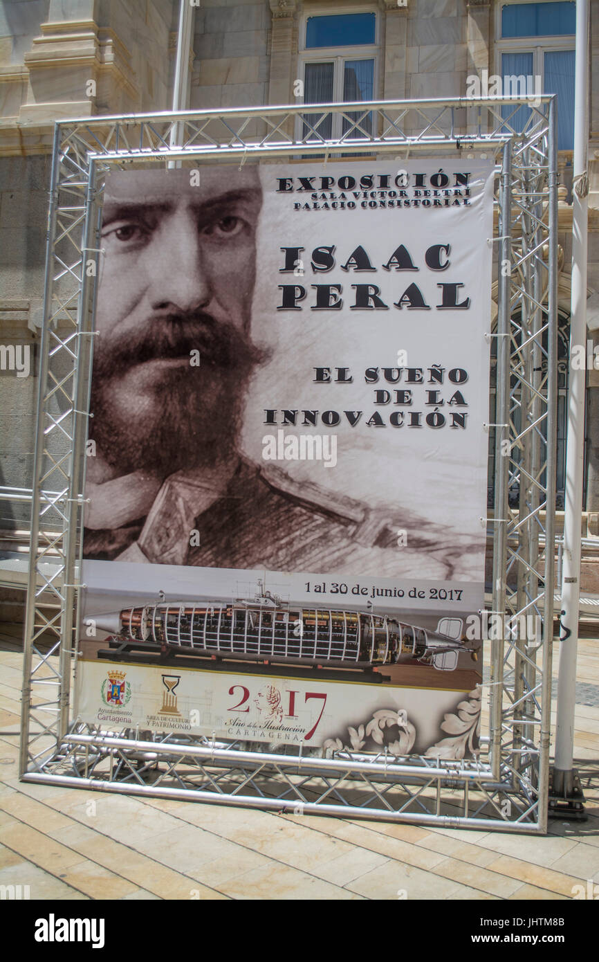 Poster for the exhibition of isaac Peral designer of the Peral Submarine in Cartagena Murcia Spain - Stock Image