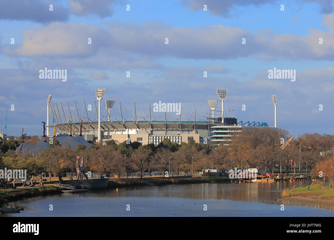 Melbourne Cricket Ground  along Yarra river in Melbourne Australia - Stock Image