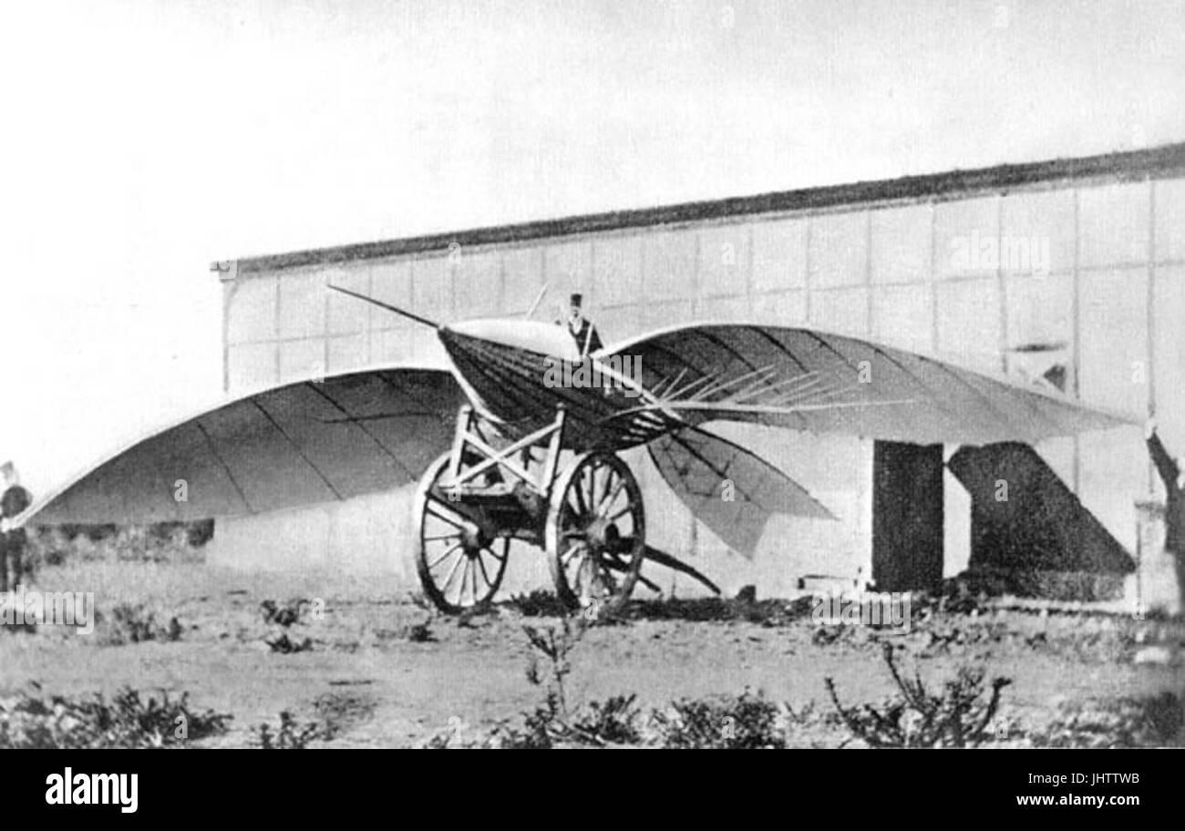 Le Bris and his glider, Albatros II, - Stock Image