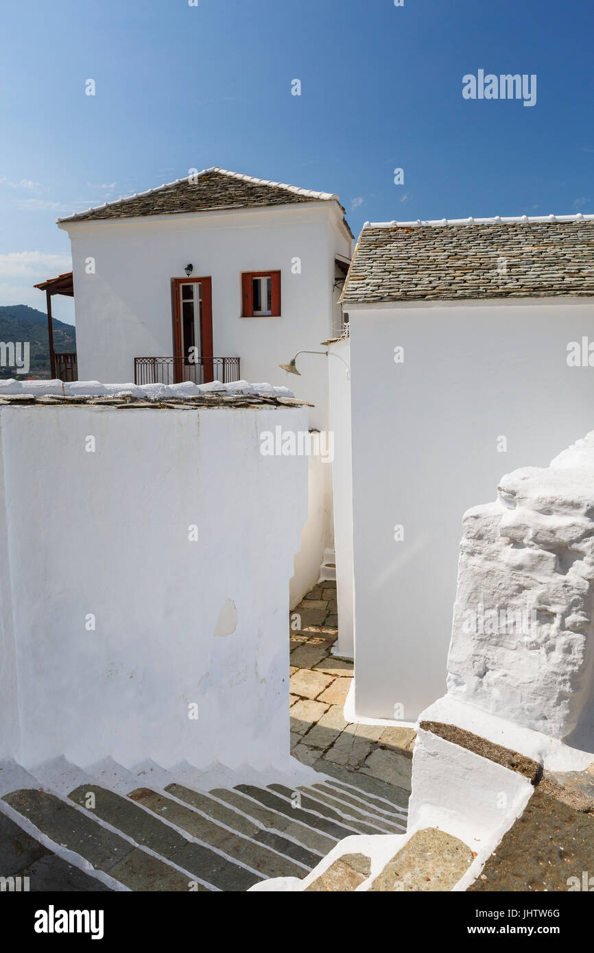Street in the old town of Skopelos, Greece. - Stock Image