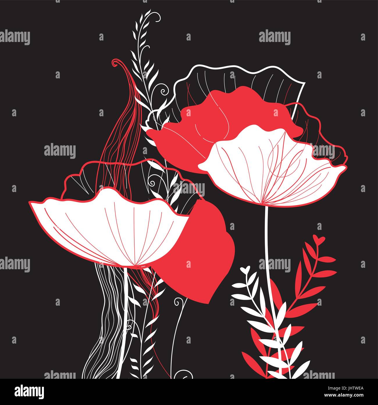 Vibrant vector greeting card with poppies on a dark background - Stock Vector