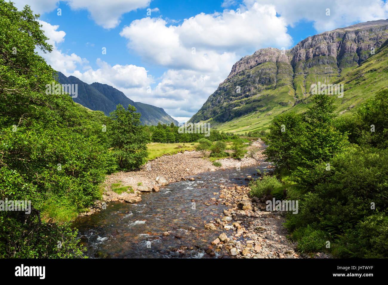 Glencoe. The River Coe near Signal Rock and An Torr, Glencoe, Scottish Highlands, Scotland, UK Stock Photo
