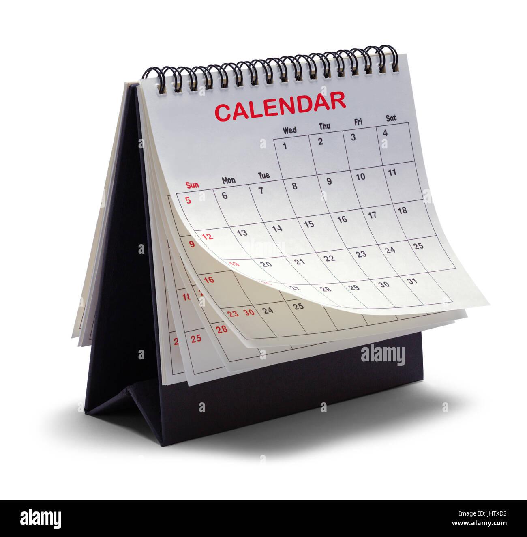 Desktop Tent Calendar Isolated on White Background. - Stock Image