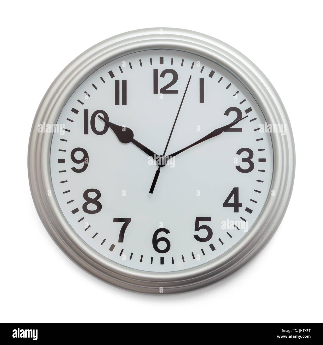 Grey Office Wall Clock Isolated On White Background.   Stock Image