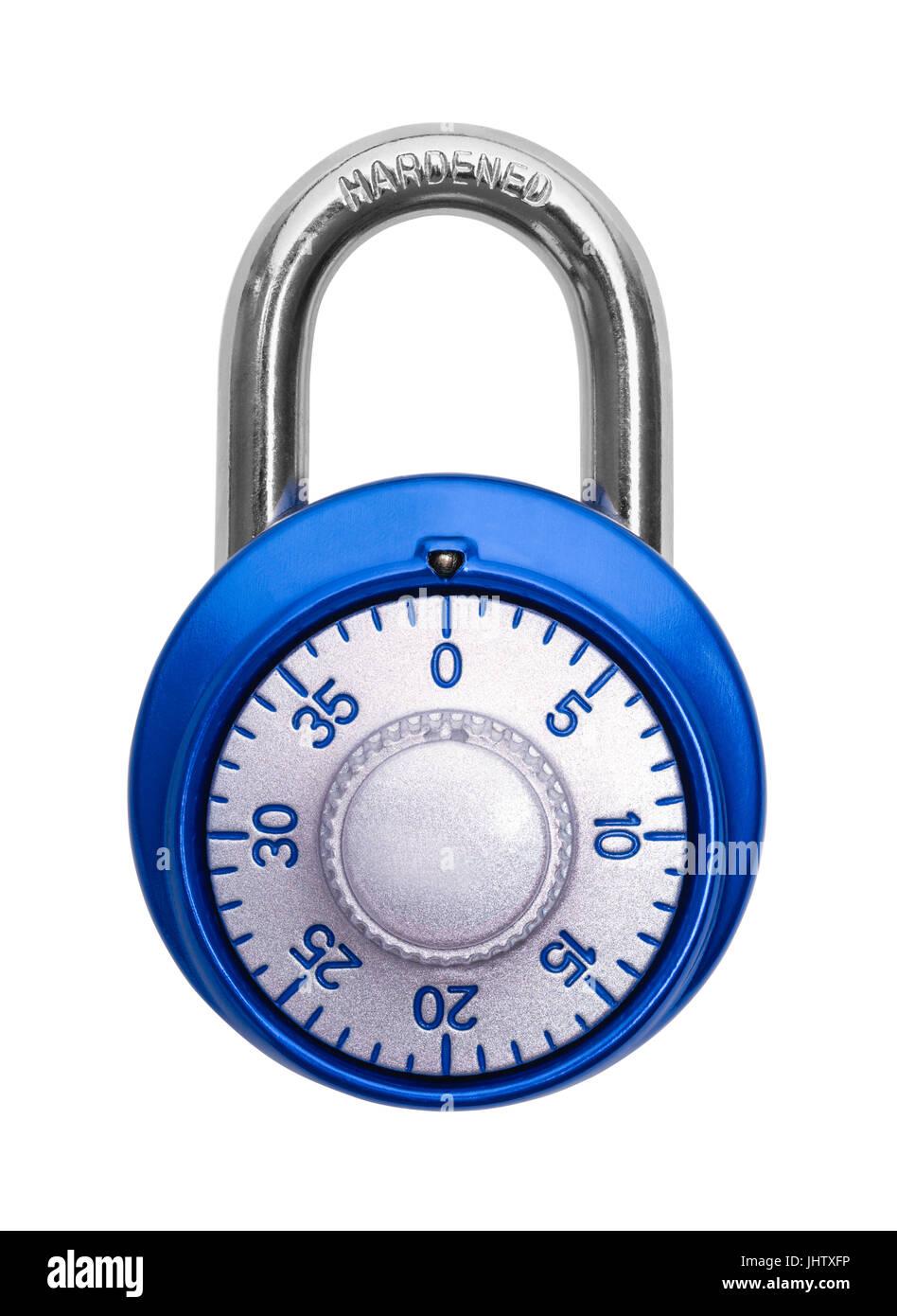 Closed Blue Combination Lock Isolated on White Background. - Stock Image