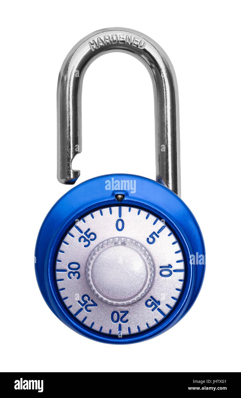 Blue Open Combination Lock Isolated on White Background. - Stock Image