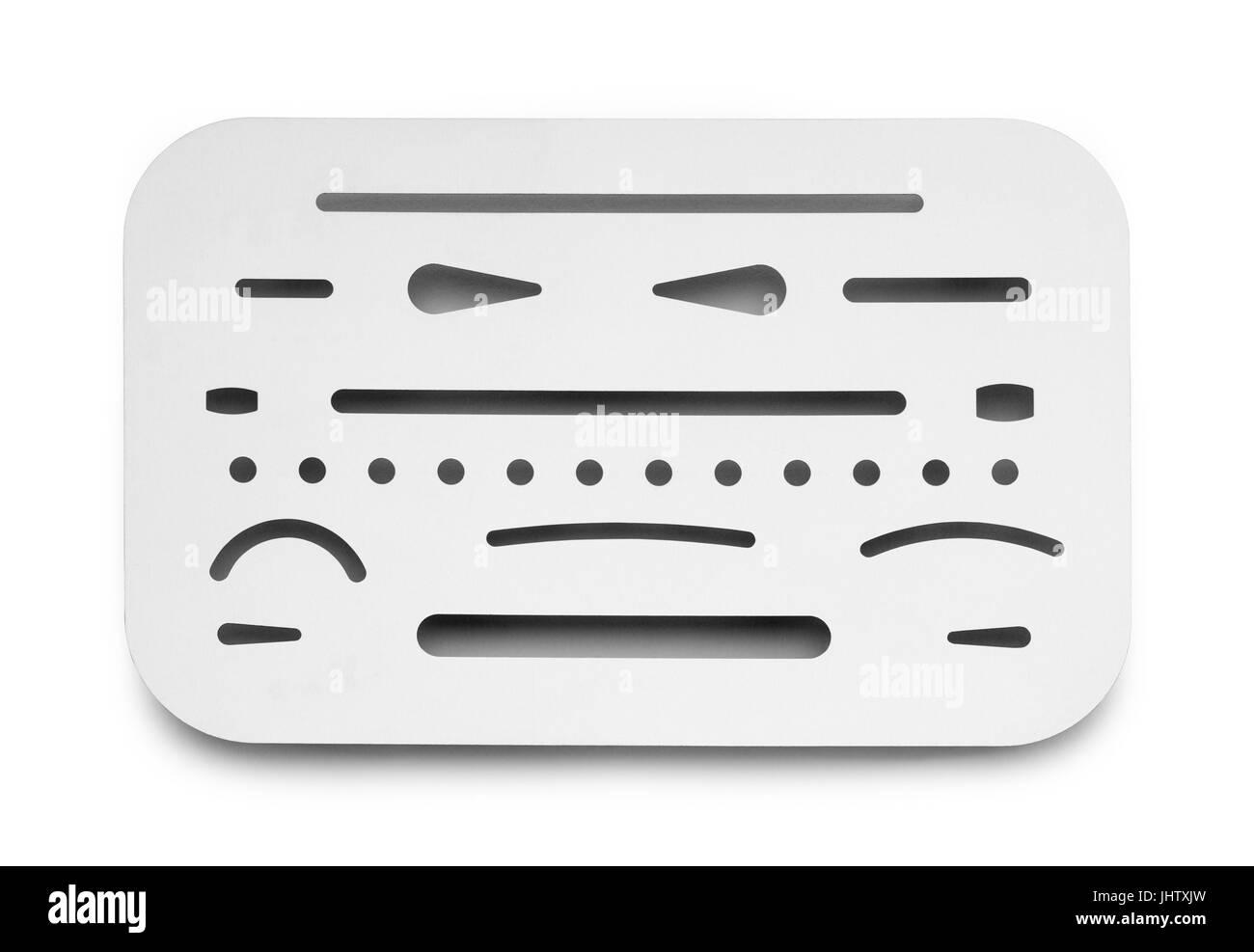 Metal Flat Drafting Eraser Shield Isolated on White Background. - Stock Image