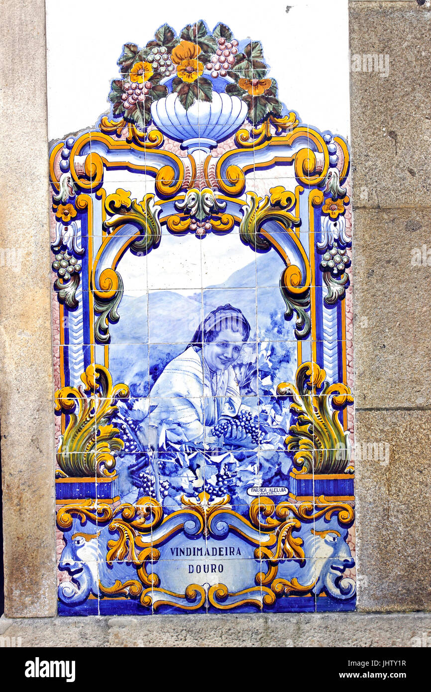 Azulejos painted blue tiles at the Pinhao train station Douro River Portugal - Stock Image