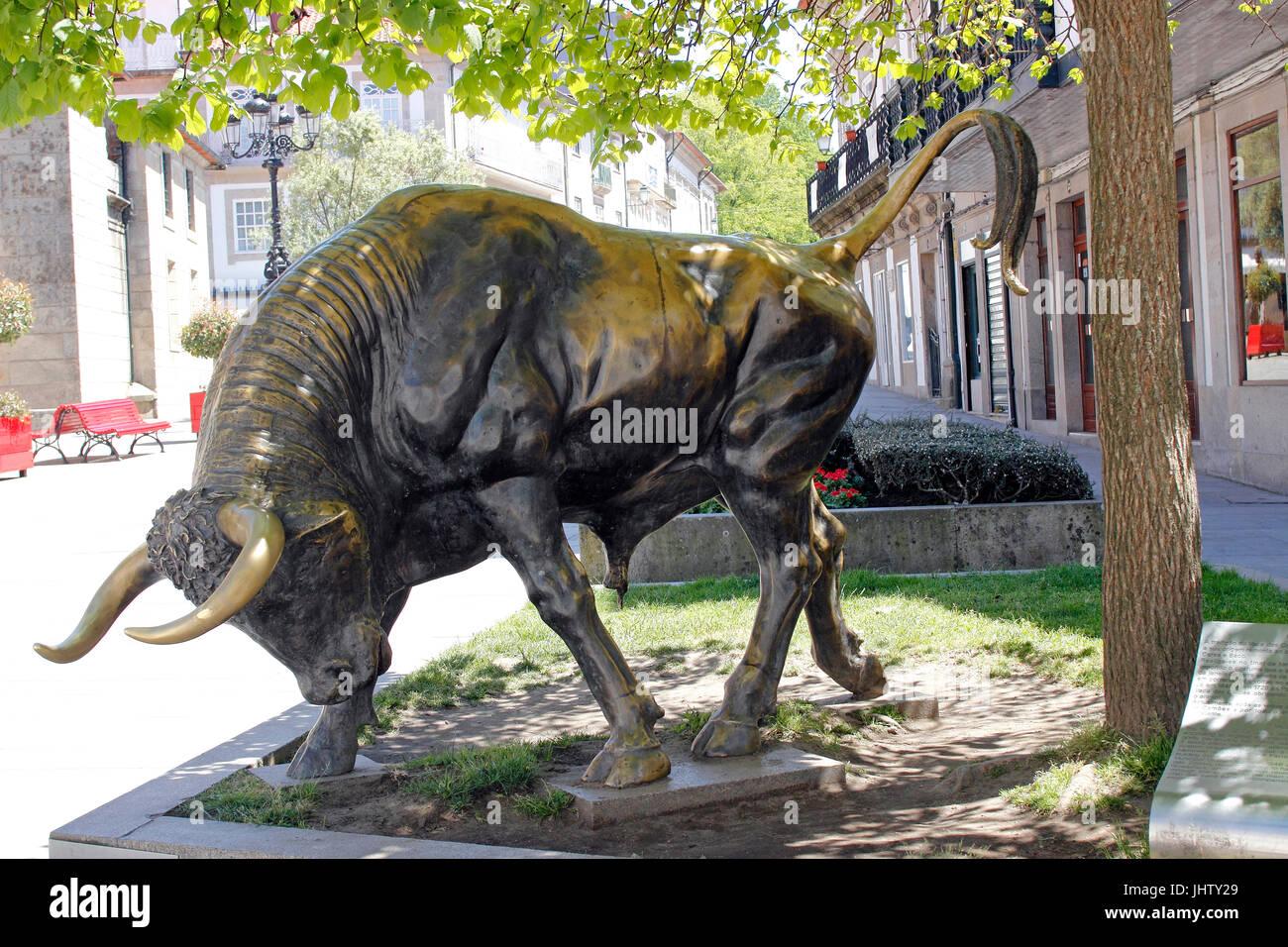 Bronze bull statue 'Vaca das Cordas' tradition Ponte de Lima Portugal - Stock Image