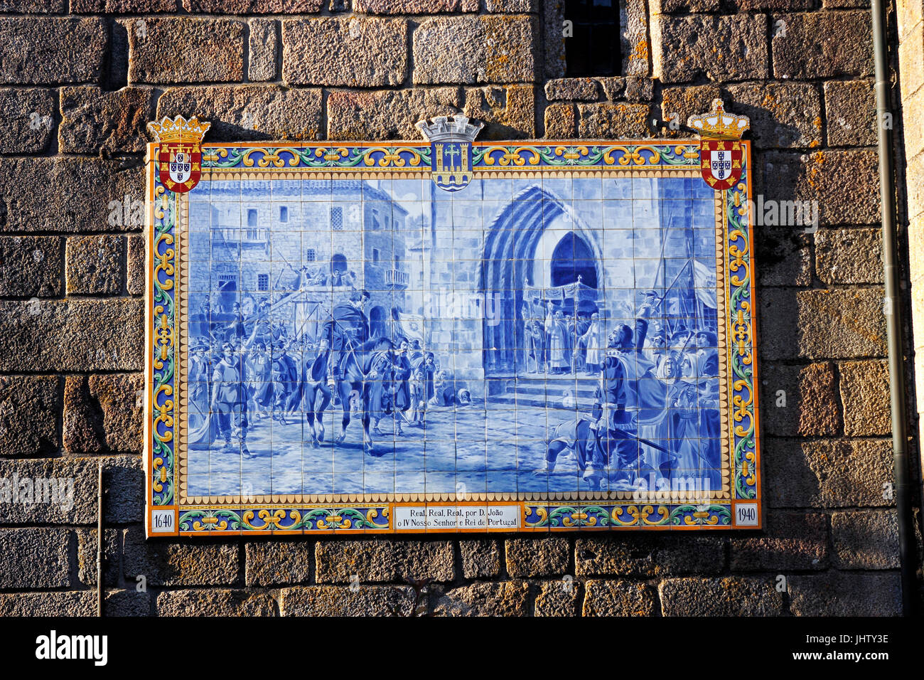 Azulejos painted blue tiles on a stone wall Ponte de Lima Portugal ...