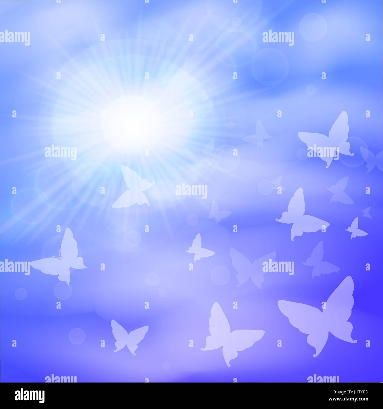 Sunny background, blue sky, white clouds of butterfly and sun. - Stock Vector