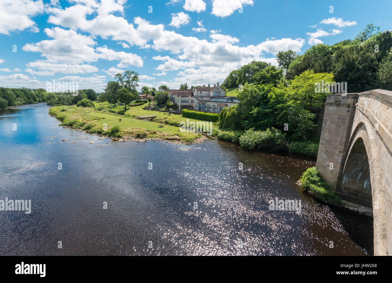 Bridge over River Tees at Piercebridge, County Durham. UK - Stock Image