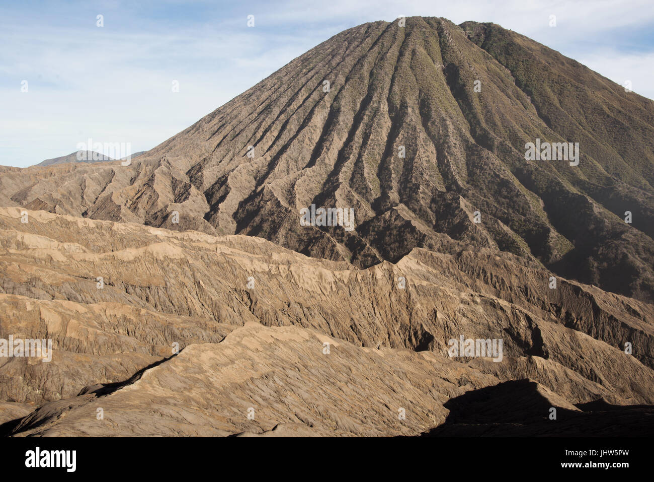 Volcanic cone within the caldeira of Mount Bromo active volcano, East Java Indonesia. - Stock Image