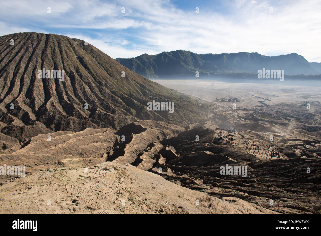 Aerial view of caldeira of Mount Bromo from the crater, East Java INdonesia. - Stock Image