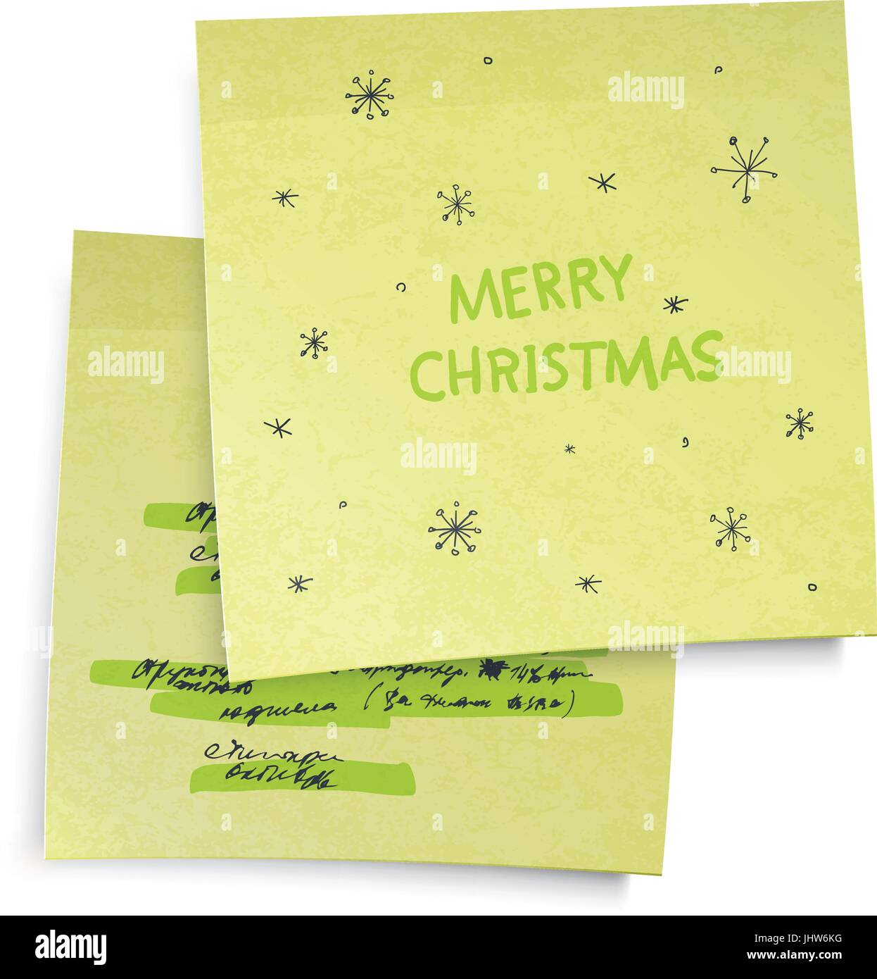 Business Yellow Sticky Notes With Merry Christmas Greetings Vector