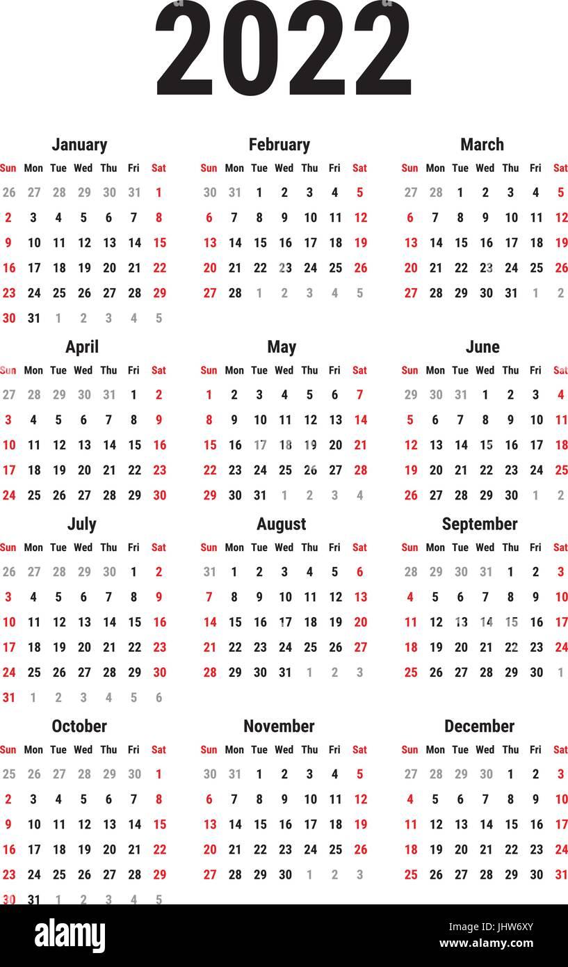 Season Finales 2022 Calendar.Calendar For 2022 Stock Vector Image Art Alamy