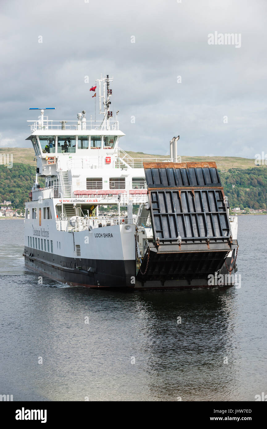 Largs, Scotland - August 17, 2011: A Caledonian MacBrayne ferry. The ferry travels between Largs on the Scottish - Stock Image