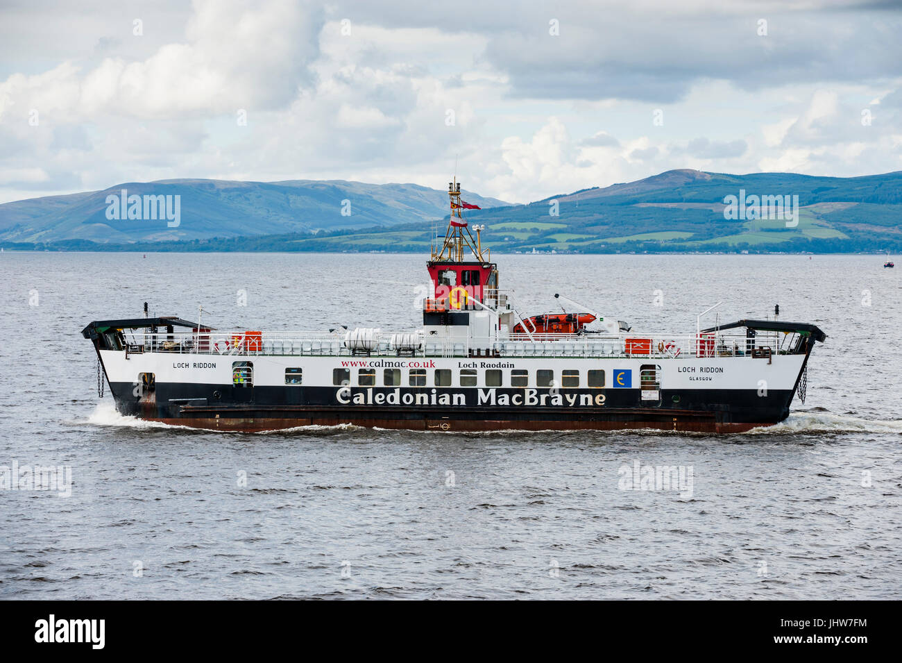 Largs, Scotland - August 17, 2011: A Caledonian MacBrayne ferry. The ferry travels between Largs on the Scottish Stock Photo