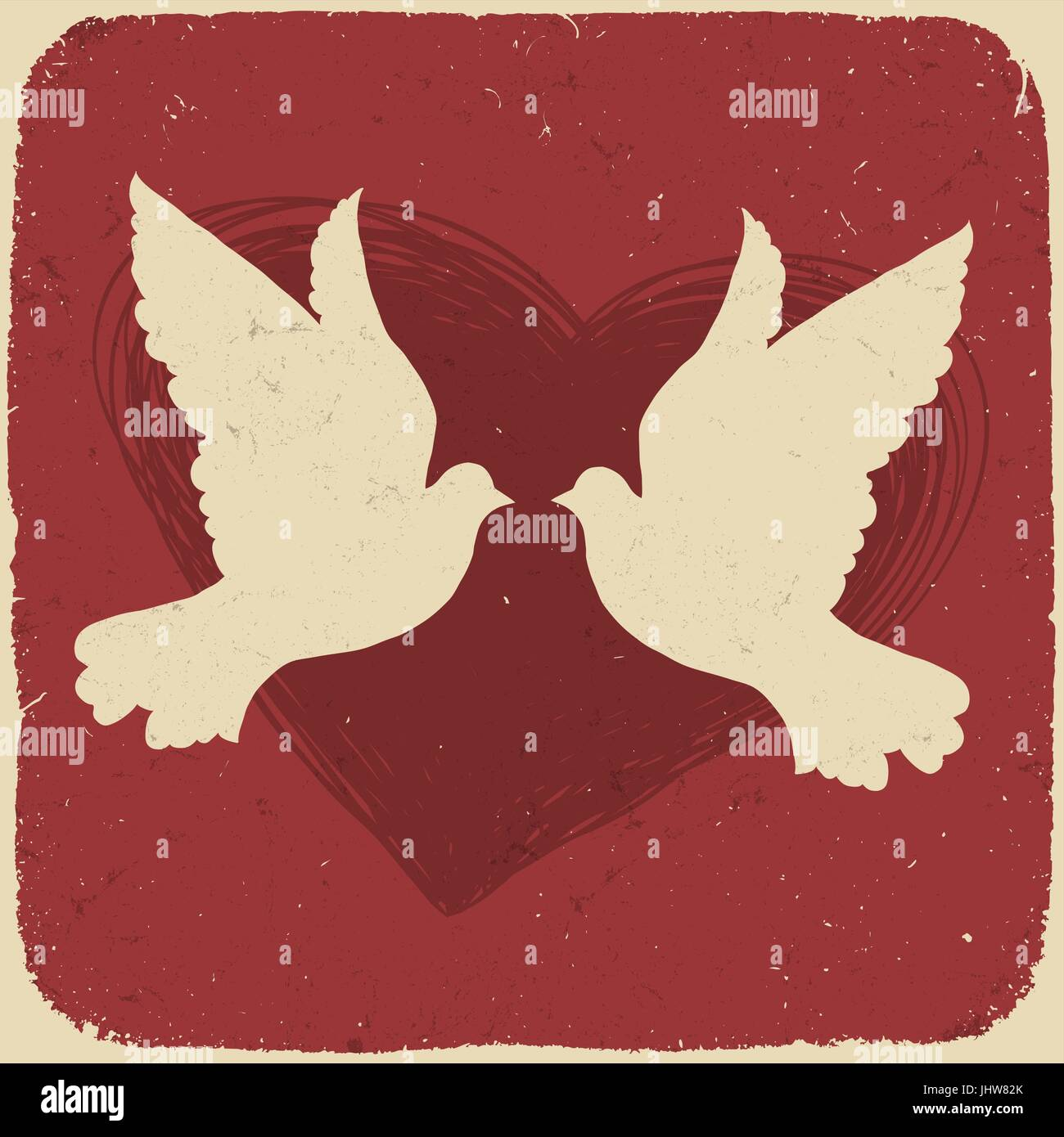 Two lovers doves. Retro styled illustration, vector, EPS10 Stock Vector