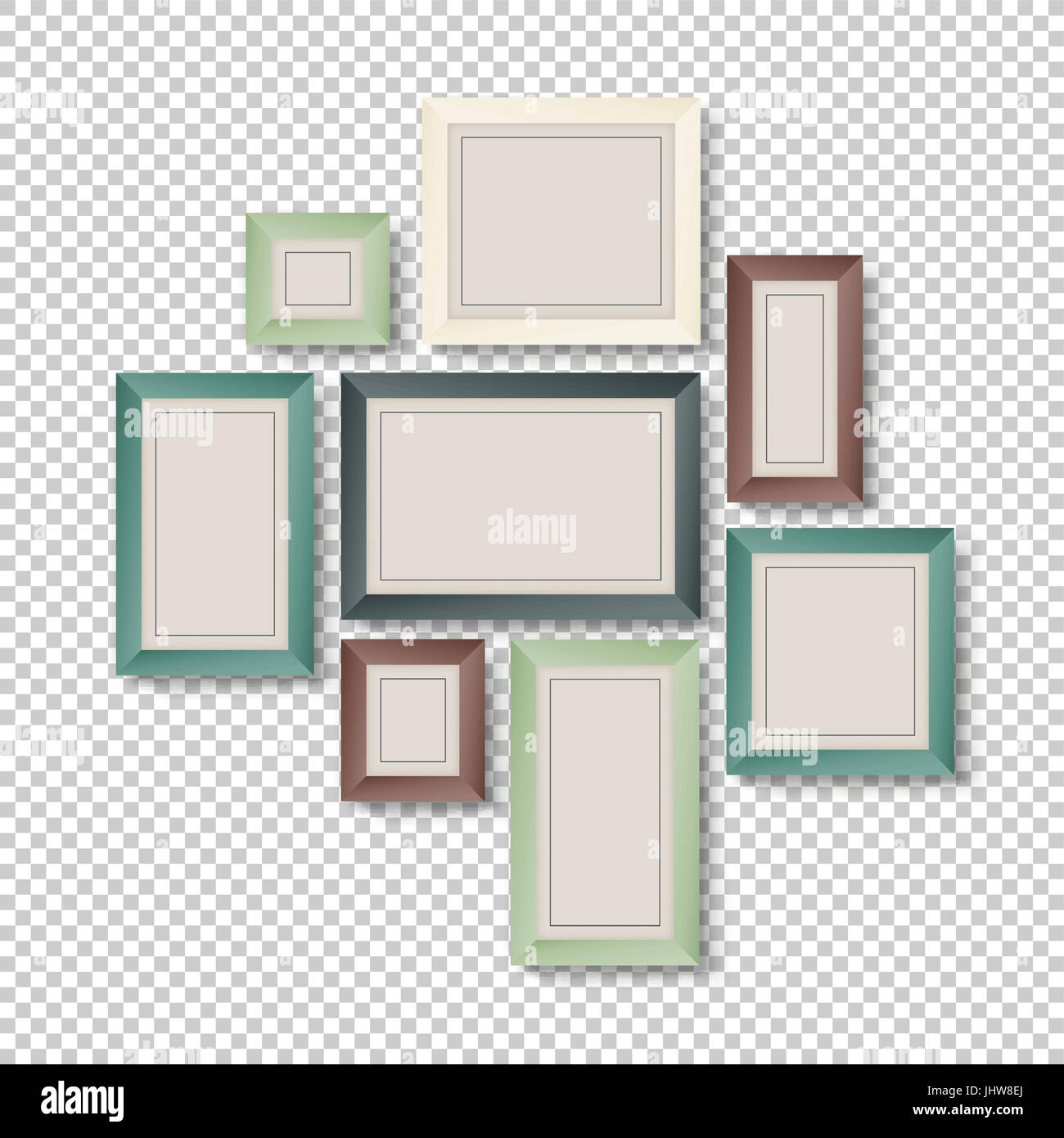 Group of Colorful Frames on Transparent Background Stock Vector Art ...