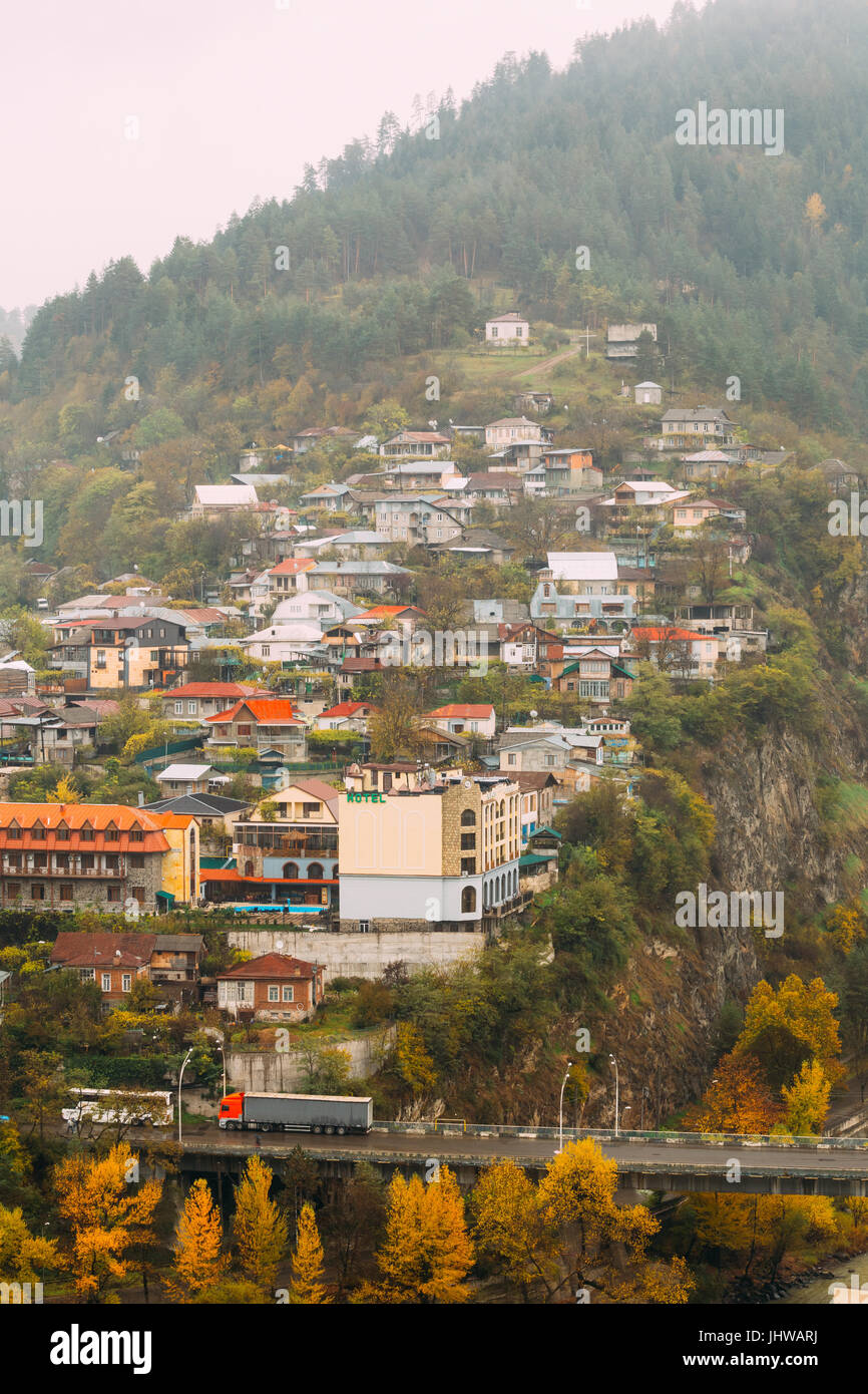 Borjomi, Samtskhe-Javakheti, Georgia - Aerial View Cityscape Of Borjomi  Resort City Autumn October Day. Borjomi - Stock Image