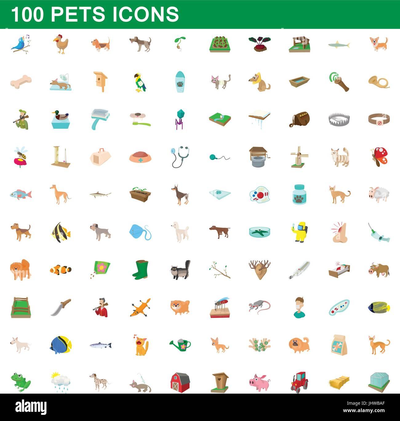 100 pets icons set, cartoon style - Stock Vector