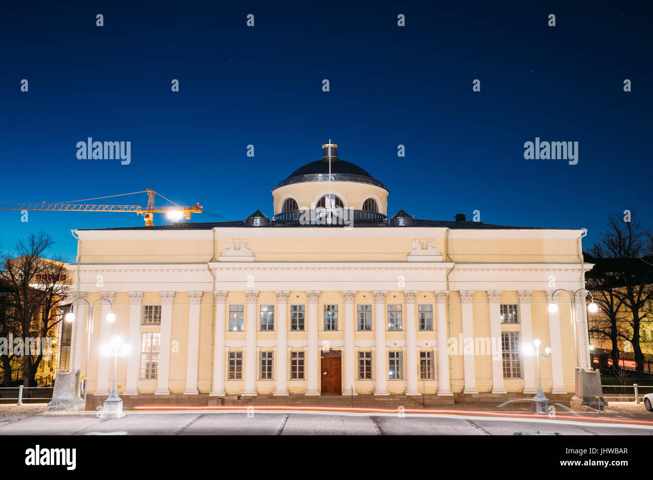 Helsinki, Finland. The National Library Of Finland In Lighting At Evening Or Night Illumination. Administratively - Stock Image