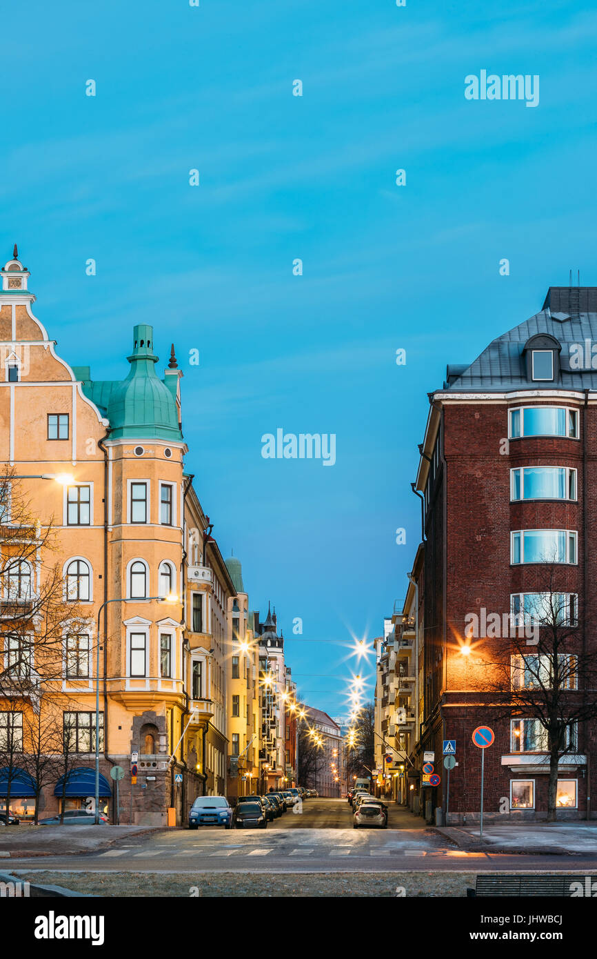 Helsinki, Finland. Residential House Building At Intersection Of Merikatu, Neitsytpolku And Puistokatu Streets In - Stock Image