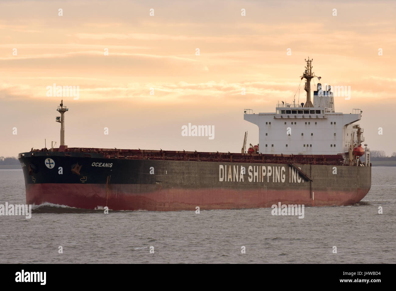 Panmax Bulkcarrier Oceanis off Cuxhaven - Stock Image