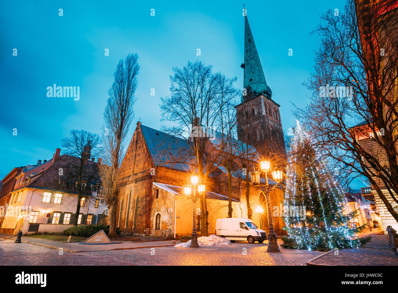Riga, Latvia. Cathedral Basilica Of St. James, Pyramidal Monument To Barricades And Perished People On January 20, Stock Photo