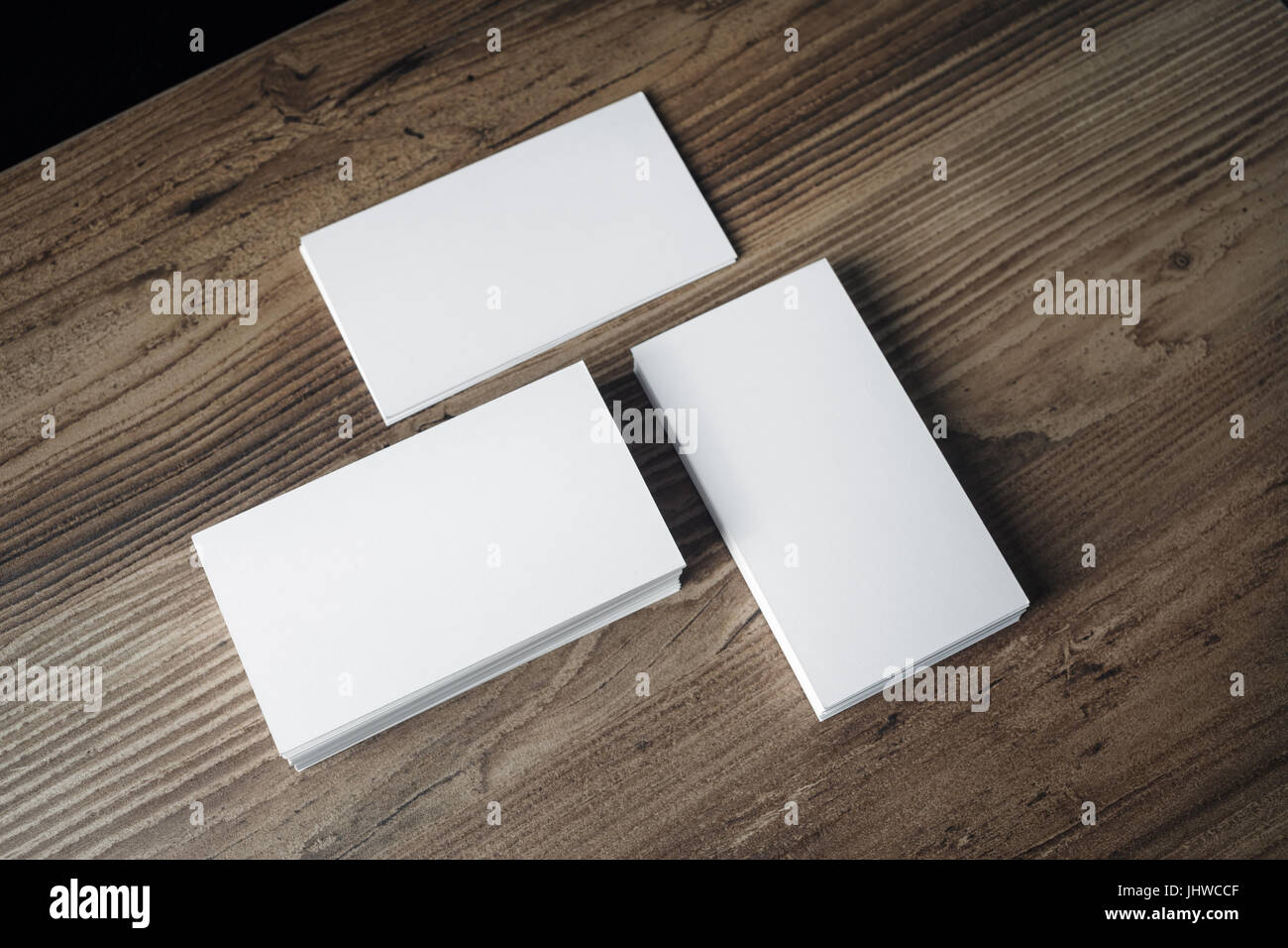 Piles of blank business cards on wood table background. Blank Stock ...