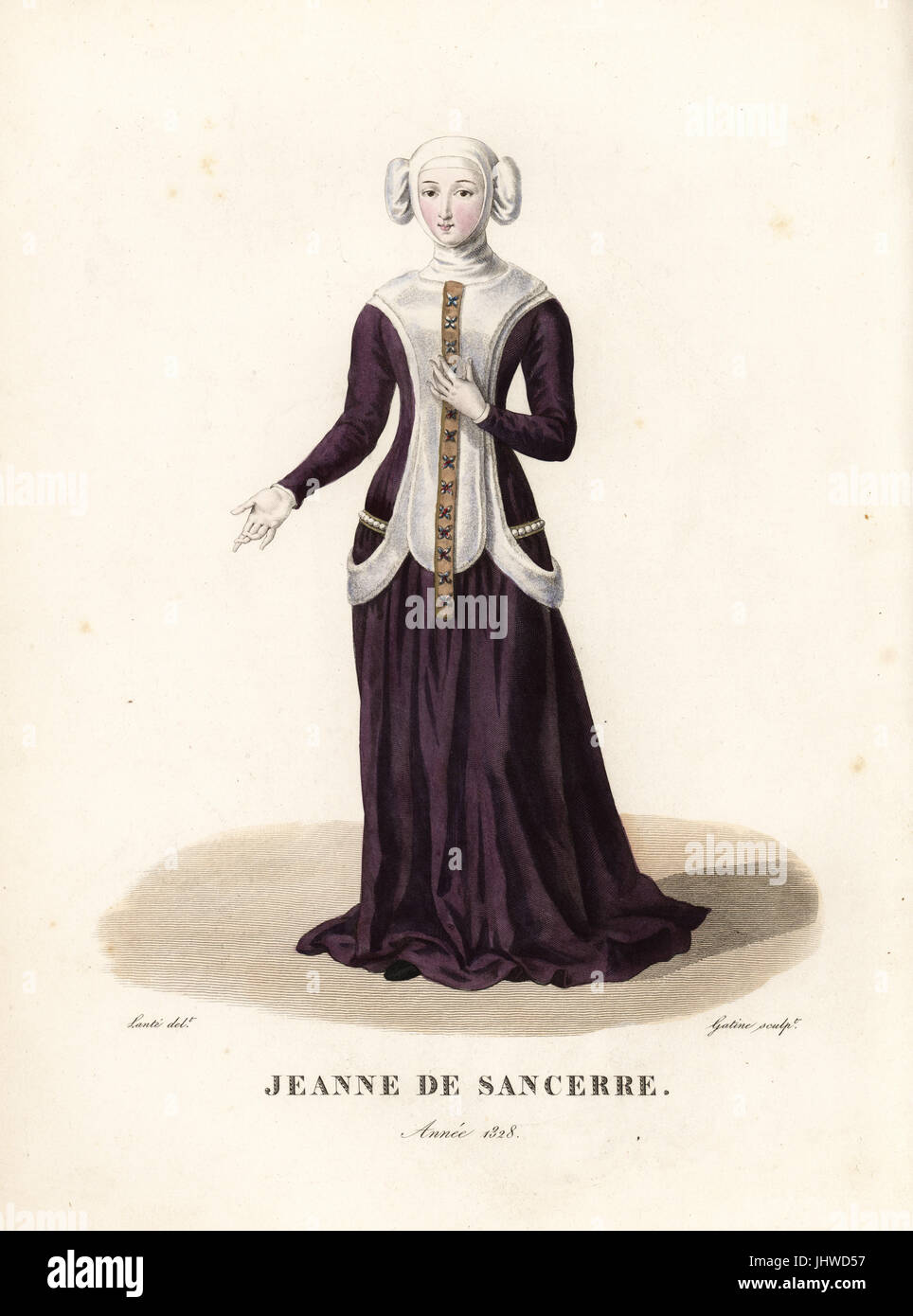 Jeanne de Sancerre, sister of Louis de Sancerre, Constable of France. Handcoloured copperplate engraving by Georges - Stock Image