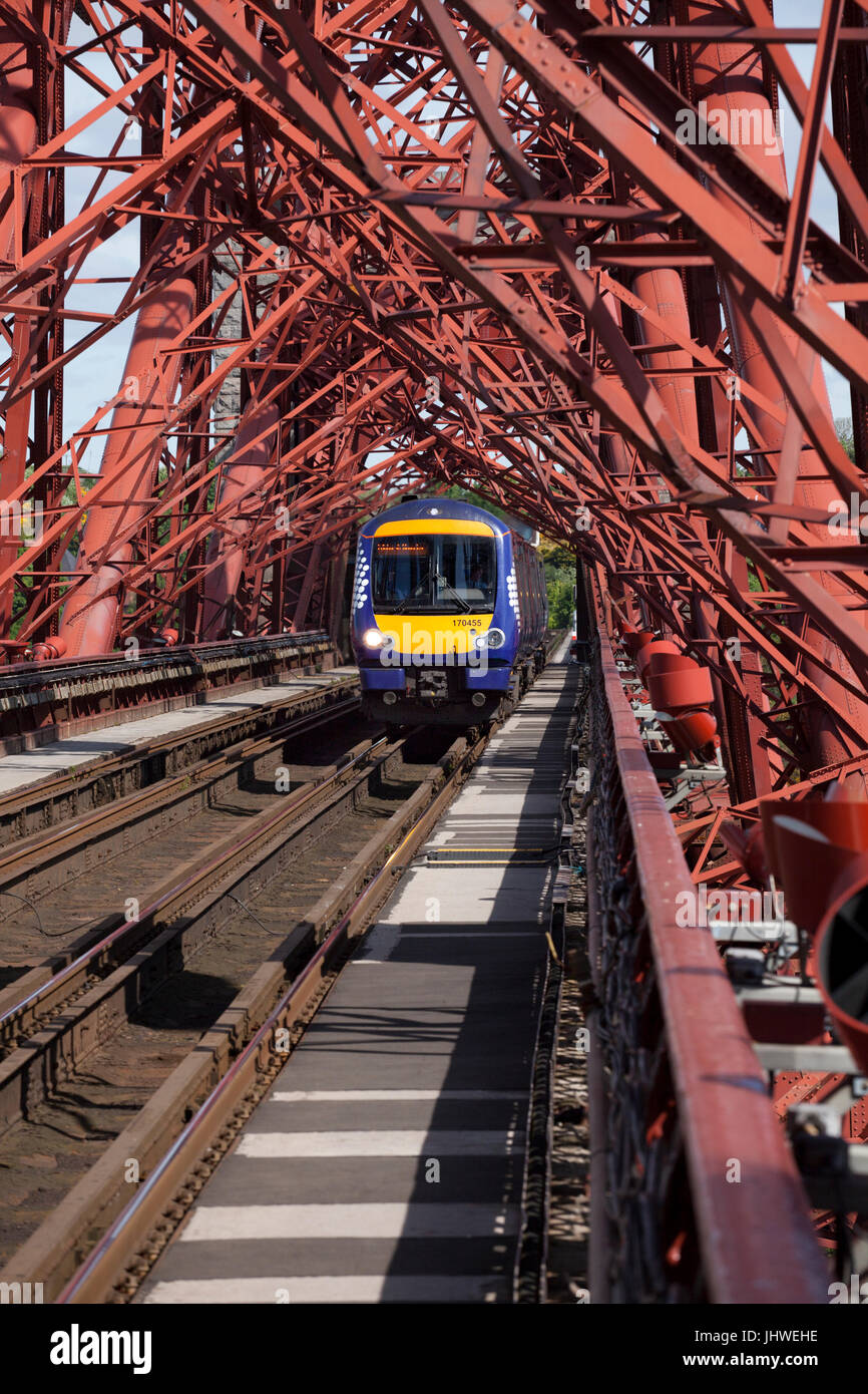 North Queensferry, The Forth Bridge view from the north cantilever Scotrail turbostar crossing with  the 0939 Glenrothes - Stock Image