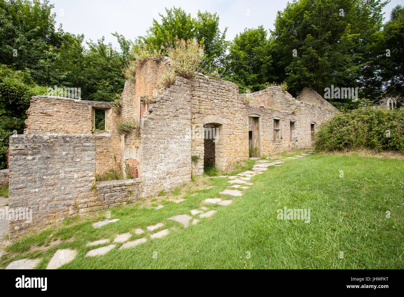 Tyneham Village, near Wareham, Dorset. Part of the Purbecks. Evacuated in 1943 and remains deserted. Church and Stock Photo