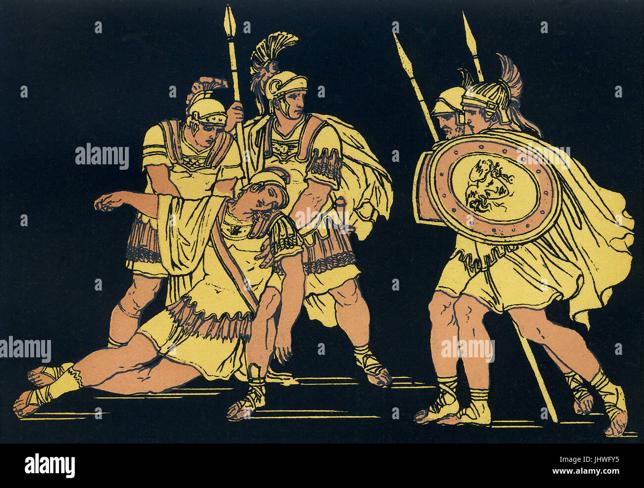 Lausus was the son of the Etruscan king Mezentius. He fought against Aeneas and his followers who escaped Troy after - Stock Image