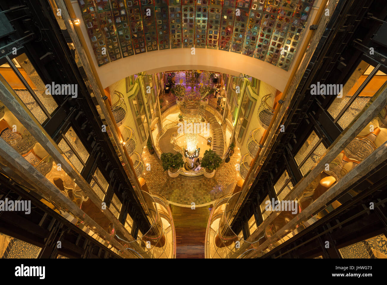 View of the elevator shafts, lobby and staircases in the cruise ship Navigator of the Seas (Royal Carribean International), - Stock Image