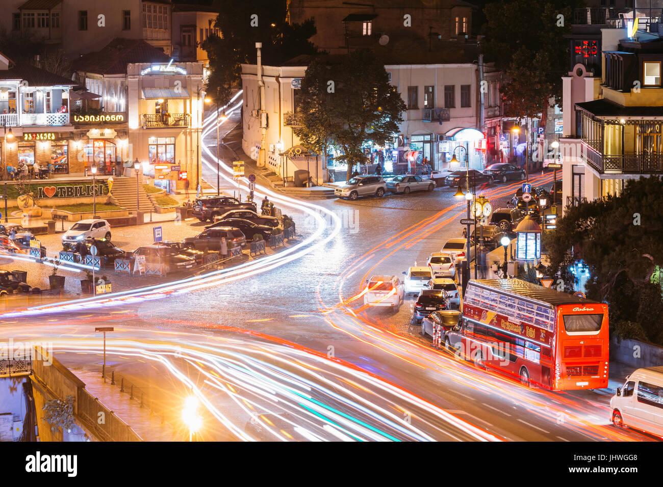 Tbilisi, Georgia - October 21, 2016: Evening Night Scenic Aerial View Of Historic District Abanotubani. Night Traffic - Stock Image