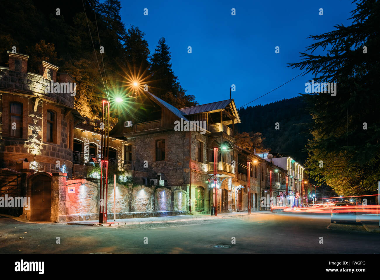 Borjomi, Samtskhe-Javakheti, Georgia - October 24, 2016:  Two-storey House In 9th April Street At Evening In Night Stock Photo