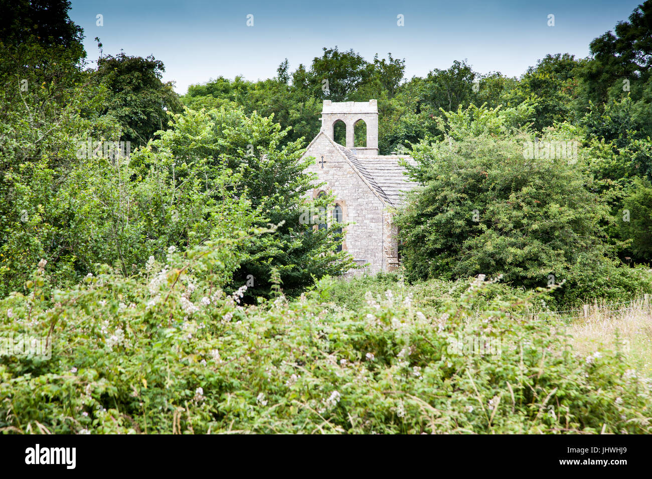 Tyneham Village, near Wareham, Dorset. Part of the Purbecks. Evacuated in 1943 and remains deserted. Church and - Stock Image
