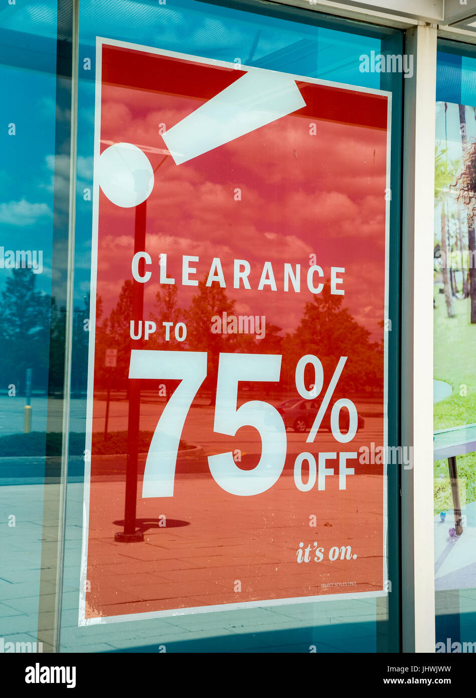 Clearance sale sign in front of an Old Navy clothing store in New ...