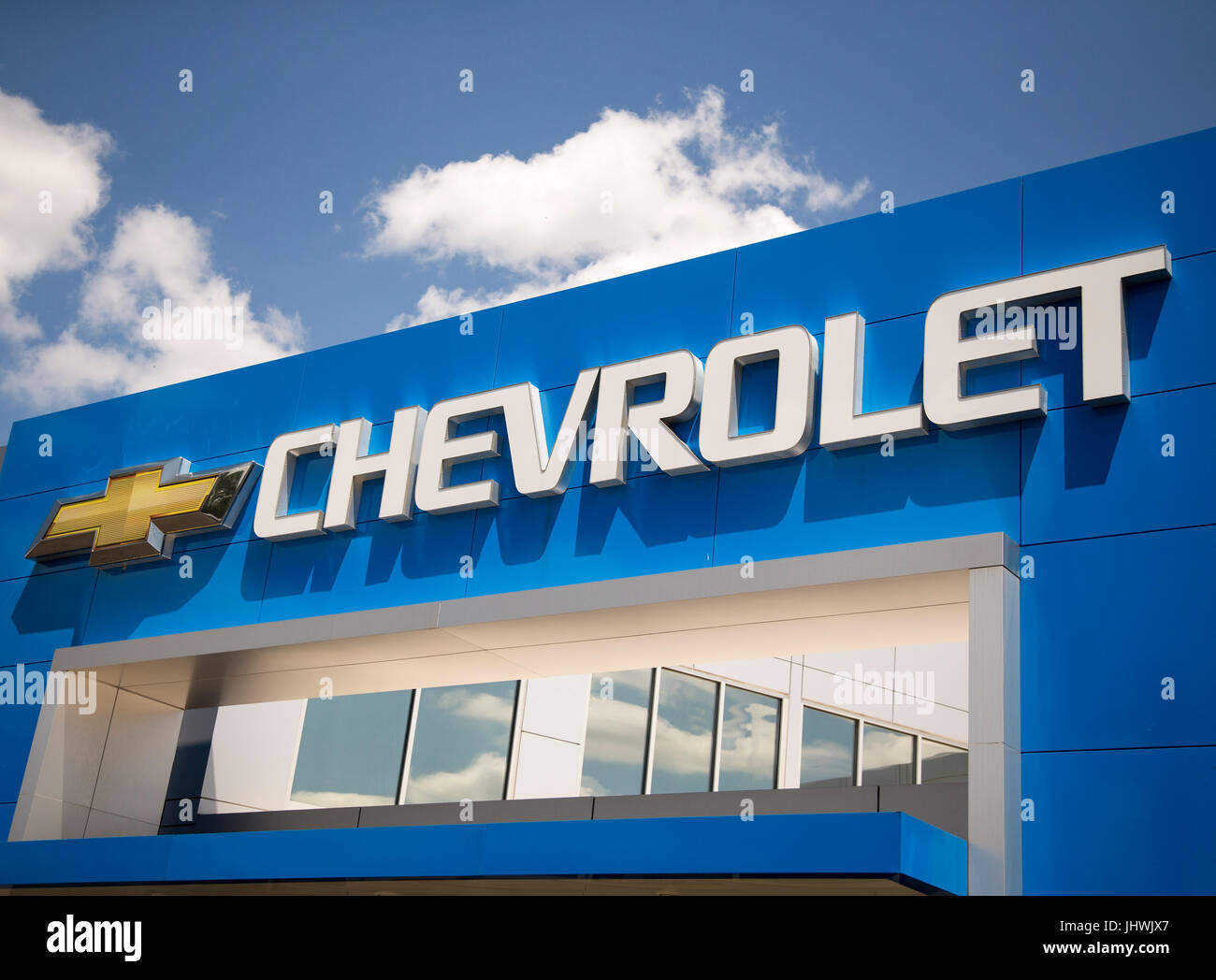 Sign Above A Chevrolet Dealership In New Jersey   Stock Image