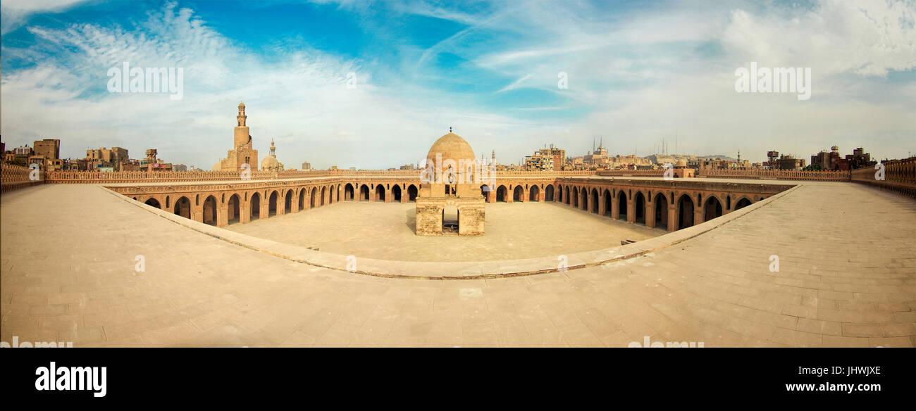 Ahmad Ibn Tolon Mosque Panoramic View, Cairo Stock Photo