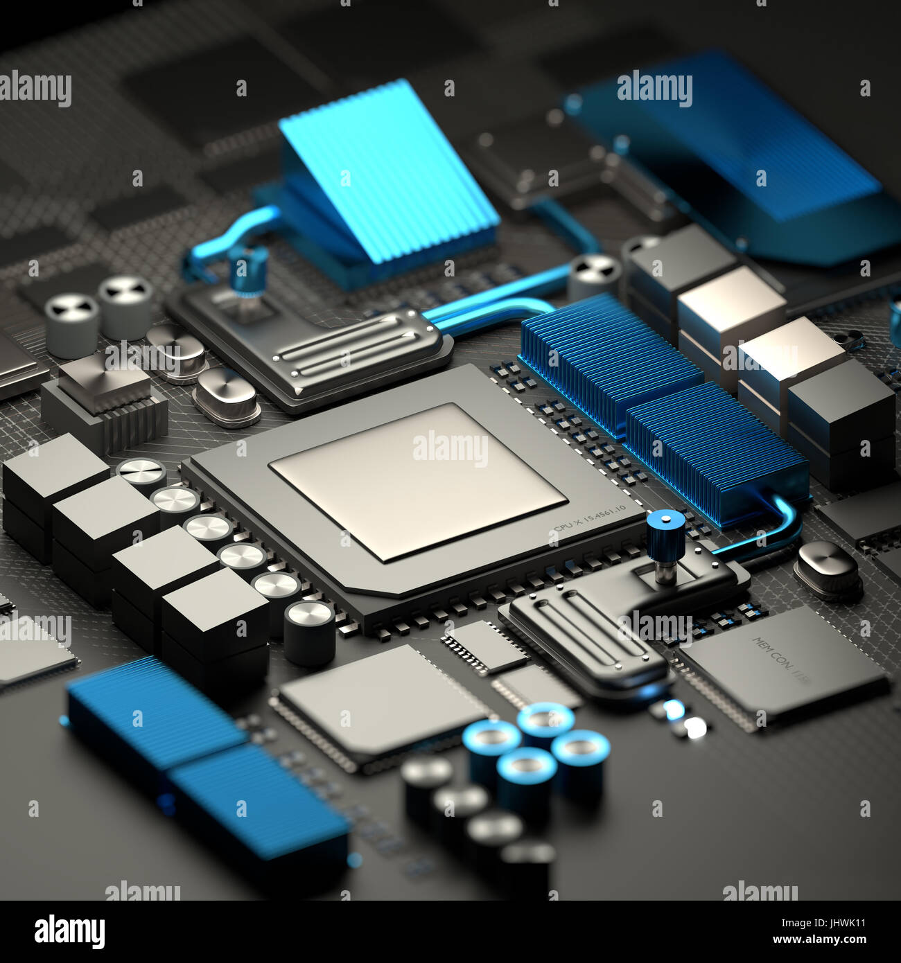 Modern inner workings of mobile devices and computers with micro CPU processor and motherboard with RAM chips. Technology - Stock Image
