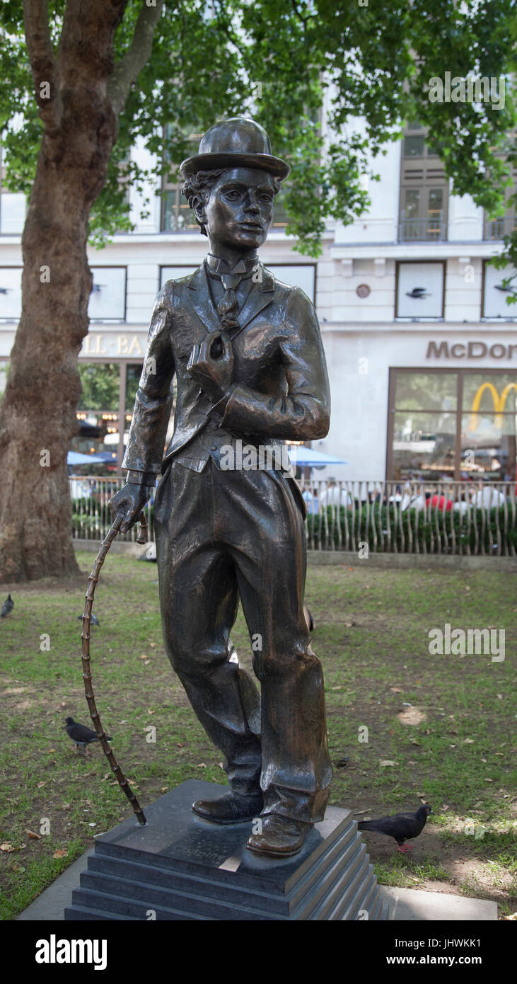 Bronze statue of Charlie Chaplin as The Little Tramp (1979-81 by John Doubleday) in Leicester Square in central - Stock Image