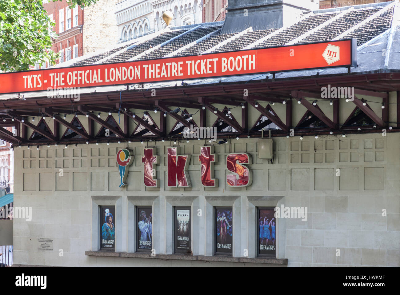 Side of 'Tkts - the Official London Theatre Ticket Booth' in Leicester Square in central London, England, - Stock Image
